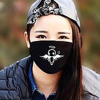 """Детская маска многоразовая (респиратор) защитная с принтом на лицо """"Ангел"""""""