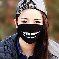 """Детская маска многоразовая (респиратор) защитная с принтом на лицо """"Улыбка"""""""