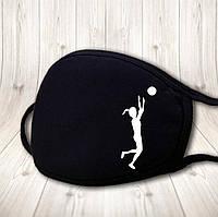 Детская многоразовая (респиратор) защитная маска на лицо с принтом Волейбол