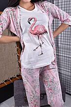 Комплект для сну піжама жіноча майка, штани, халат, тапочки і маска для сну рожева код П204
