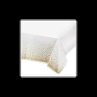Скатертина одноразова Біла в золотий горох 137х274см -