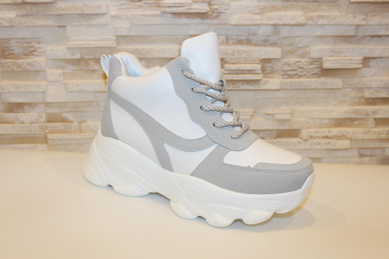 Кросівки жіночі білі з сірими вставками Т1178
