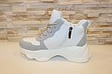 Кросівки жіночі білі з сірими вставками Т1178, фото 2