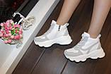Кросівки жіночі білі з сірими вставками Т1178, фото 4