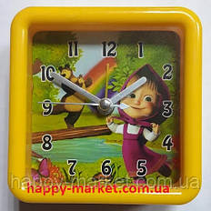 Часы-будильник №2011-М/2012-М Маша и медведь (8.5*8.5)