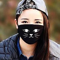 """Детская маска многоразовая (респиратор) защитная с принтом на лицо """"Мордочка кошки"""""""