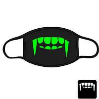 """Детская маска многоразовая (респиратор) защитная с принтом на лицо """"Клыки Вампира"""""""