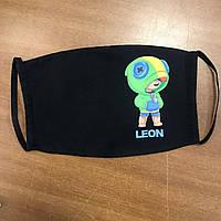 Детская многоразовая (респиратор) защитная маска на лицо с принтом Leon
