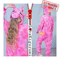 Оригинальная пижама кигуруми Единорог Розовый Звёздный застежка молния все размеры в наличии