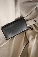 Портмоне на молнии из натуральной кожи ручной работы, портмоне-клатч унисекс черного цвета