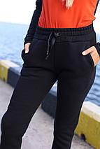 Теплые женские спортивные штаны 907 черные, фото 2