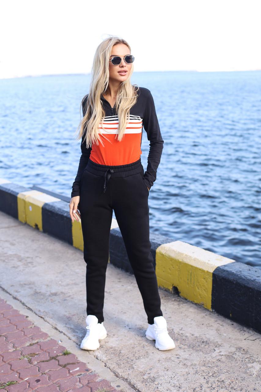 Теплые женские спортивные штаны 907 черные