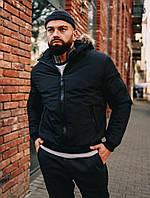Зимова чоловіча куртка чорна з капюшоном, фото 1