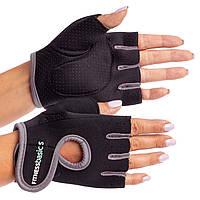 Жіночі рукавички для фітнесу з неопрену (не ковзаючі) чорно/L сірі