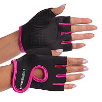 Жіночі рукавички для фітнесу з неопрену (не ковзаючі) чорно-рожеві р. М