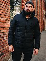 Тепла чоловіча куртка чорна з капюшоном якісна, фото 1