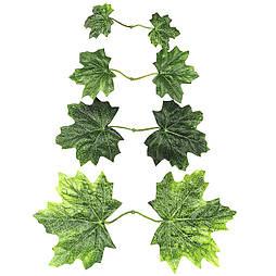 Штучні листя клена зеленого подвійні 25 шт в уп