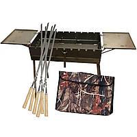 Мангал - чемодан 3 мм на 9 шампуров со столиками 570х300х150мм + Чехол + Набор шампуров