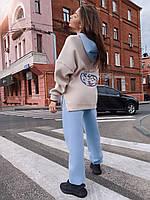Теплий спортивний костюм жіночий двоколірний з мультяшним малюнком (р. S, M) 71msp1164, фото 1
