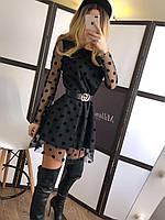 Короткое платье с сеткой в горошек сверху и длинным рукавом (р. 42-44) 22mpl1703, фото 1