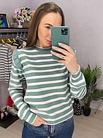 Женский полосатый свитер с рюшами на плечах (р. 42-46) 33dmde986, фото 1