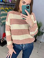 В'язаний двоколірний светр в смужку (р. 42-46) 33dmde988, фото 1