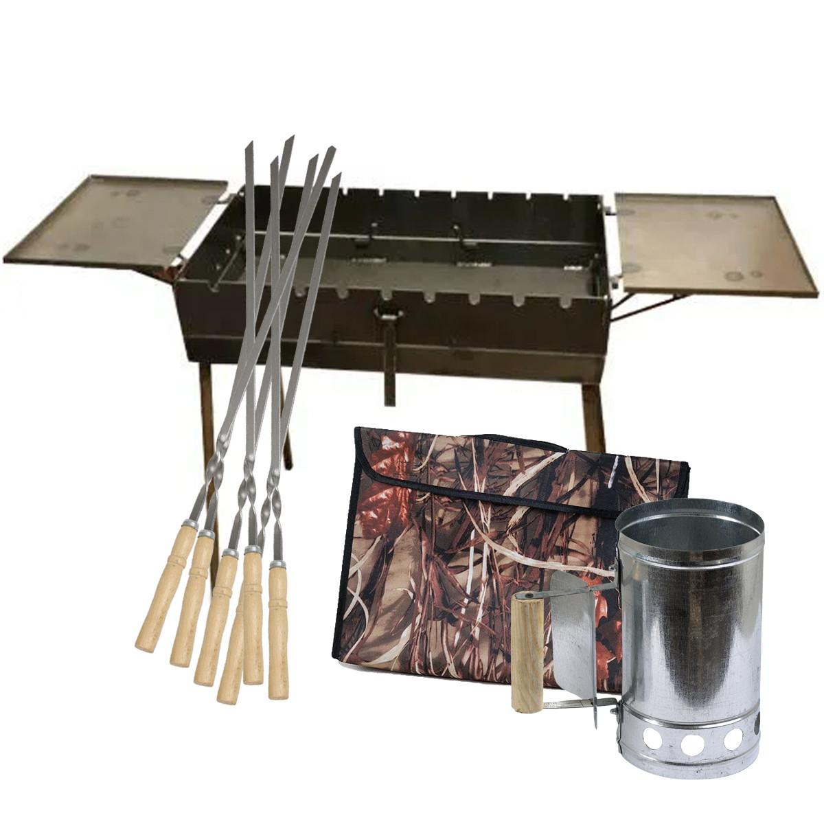 Мангал - валіза 3 мм на 9 шампурів зі столиками 570х300х150мм + Чохол + Набір шампурів + Стартер