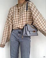 Жіночий в'язаний светр вільного крою в принт гусяча лапка (р. 42-46) 78dmde996, фото 1
