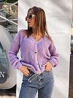 Женский вязаный свитер на пуговицах в ярких расцветках (р. 42-46) 73dmde997, фото 1