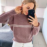 Жіночий в'язаний светр стільники з вилогами на манжетах і горловині (р. 42-46) 4dmde998, фото 1