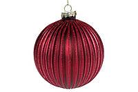 Елочный шар рельефной формы с глиттером 10см, цвет - бордо