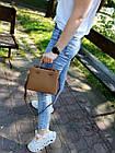 Кожаная женская сумка размером 23х18х8 см Коричневая (01244), фото 4