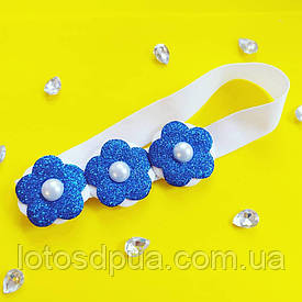 """Детская повязка на голову с цветами """"Анита"""" (синяя)"""