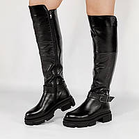Ботфорты женские кожаные черные на массивной подошве MORENTO зимние