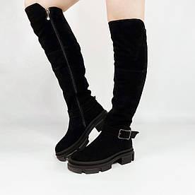 Ботфорти жіночі замшеві чорні на масивній підошві MORENTO зимові