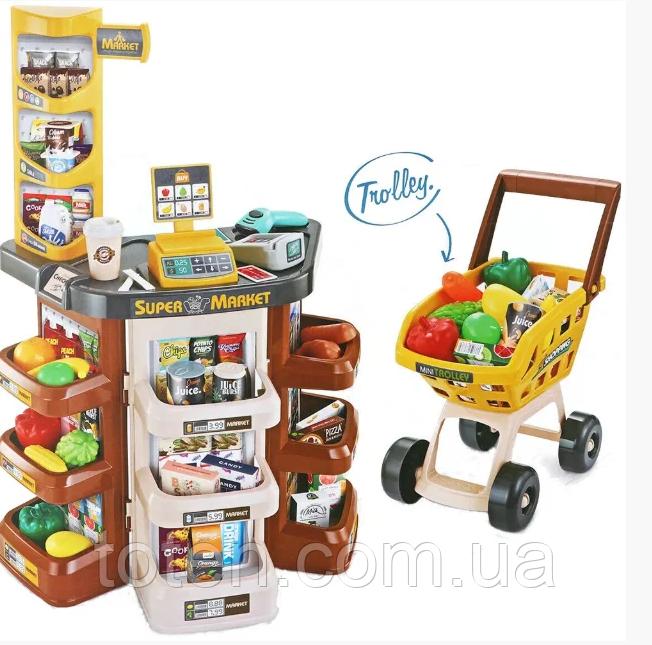 Детский супермаркет/магазин с тележкой. Сканер, весы, деньги, фрукты/овощи 668-77 Т