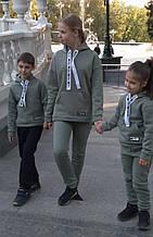 Детский теплый спортивный костюм на флисе  Оливковый 104-134