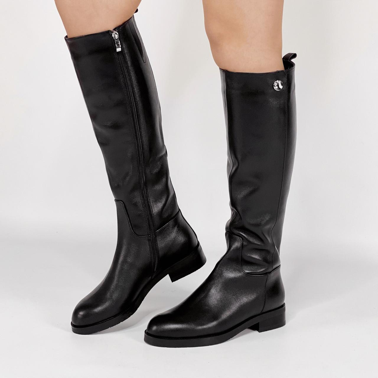 Сапоги женские кожаные черные на молнии MORENTO зимние
