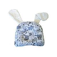Подушка дитяча анатомічна для немовлят з вушками Собачки сірі