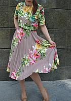 Платье плиссе с яркими цветами, фото 1
