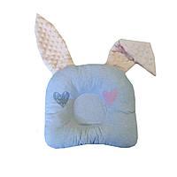 Подушка дитяча анатомічна для немовлят з вушками Кольорові серця