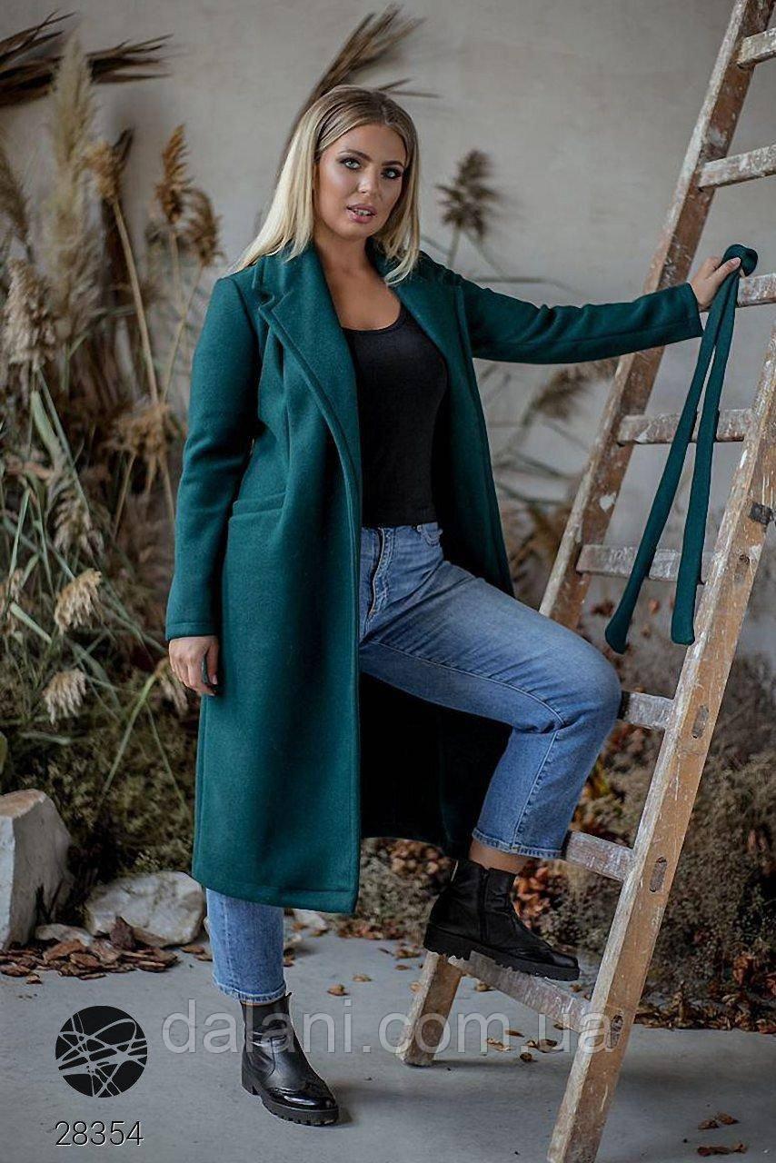 Кашемировое женское зеленое пальто миди с поясом