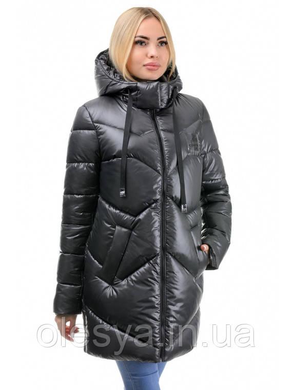 Женская молодежная зимняя куртка Шайн Размеры 42 44 цвет черный