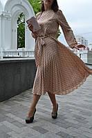 Платье плиссированное Нежный бежевый горошек, фото 1