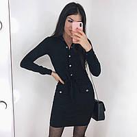 Женское платье замш на дайвинге черный бордо 42-44 44-46