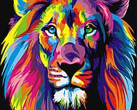 Картина по номерам Радужный лев 50*40 см, зарисовка полная, на подрамнике
