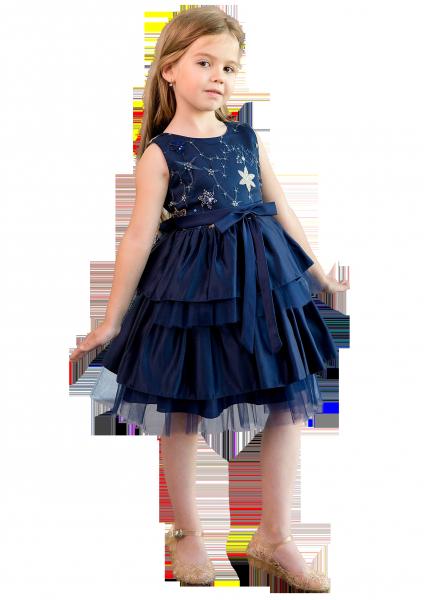 Синее платье с вышивкой по груди и комбинированной юбкой для девочки на праздник