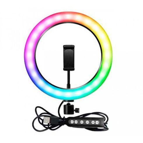 Разноцветная кольцевая лампа RGB MJ26 диаметром 26 см с держателем для телефона