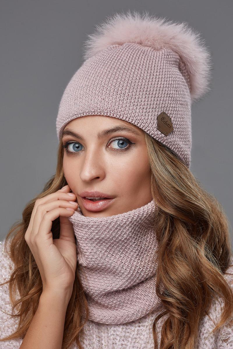 Зимовий жіночий комплект Тея Пудра