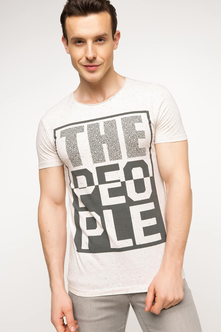 Фирменная мужская футболка defacto с надписью the people размер м